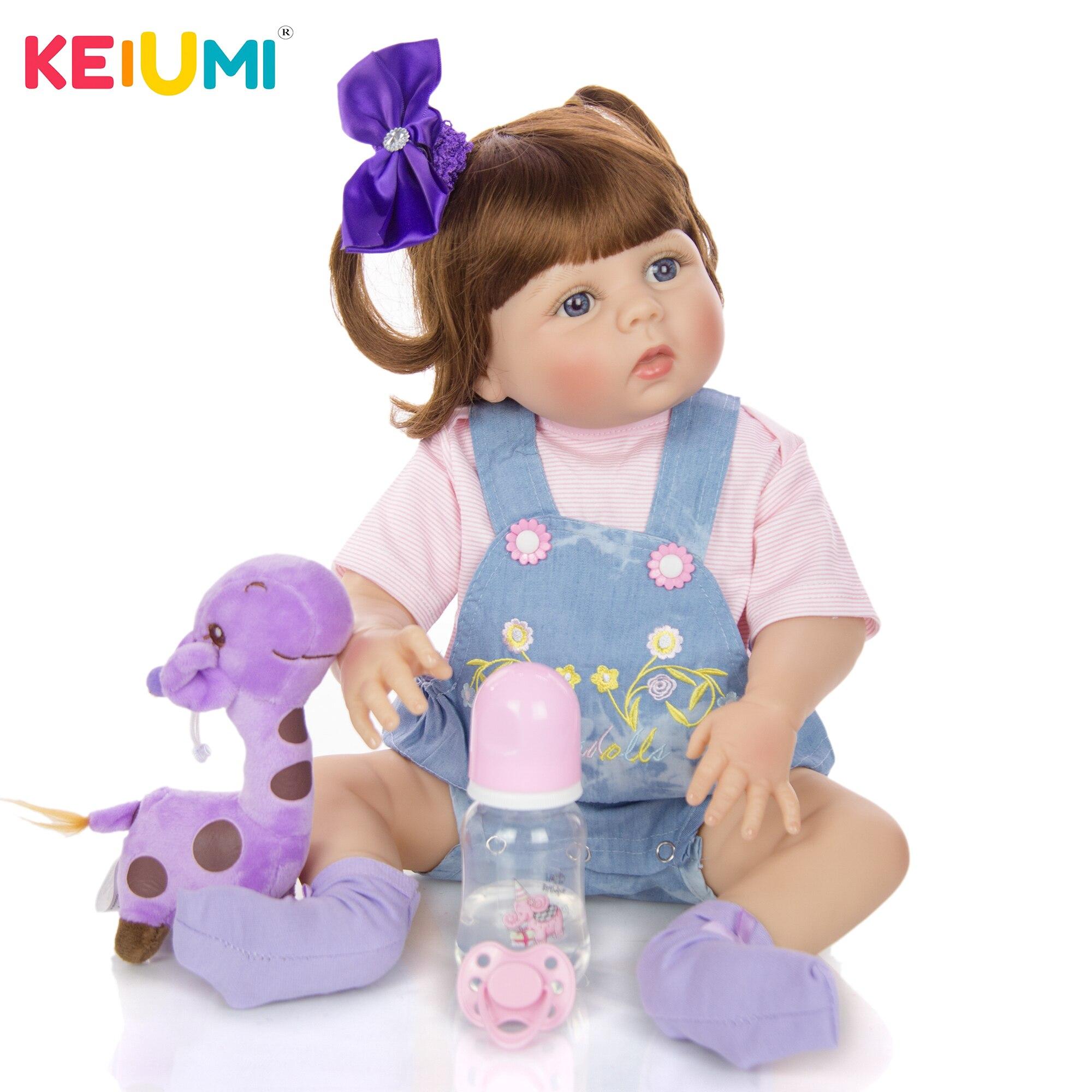 Lifelike 23'' 57cm Reborn Boneca Doll Full Silicone Vinyl Body Lovely bebe Newborn Doll Toy For Girl Birthday Christmas Present